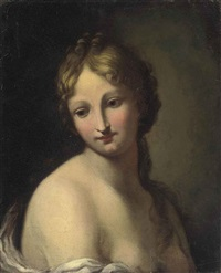 young girl en déshabillé in a white chemise (study) by jacopo amigoni