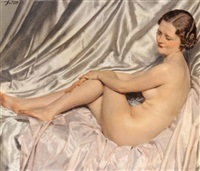 jeune femme nue allongée by maurice joron