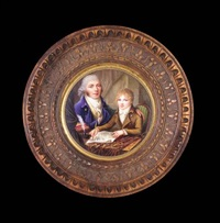 portrait of the artist and his son seated at a table in an interior, he wearing a blue jacket with brass buttons, a yellow waistcoat with blue stripes and a white cravat, his son drawing a landscape by henry adams