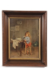 girl in high chair eating asparagus by jean-paul haag