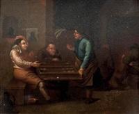aldeanos jugando al backgammon by egbert van heemskerk