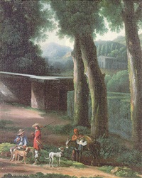 a hunting party in wooded italianate landscape by angeluccio