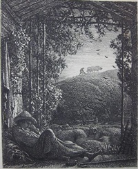 the lonely tower; resting shepherd; the skylark; the rising moon; opening the fold; sunset; the early ploughman; morning of life (8 works) by samuel palmer