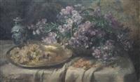 nature morte aux fleurs, raisins et vase chinois sur entablement by frans mortelmans