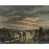 frozen river landscape with peasants breaking ice into blocks, and the sun setting by francois joseph pfeiffer the younger