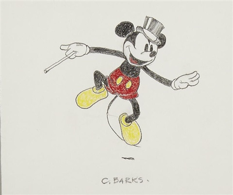 A Colored Pencil Drawing Of Mickey Mouse By Walt Disney Studios On