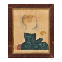 profile portrait of a boy holding an orange by mary b. tucker