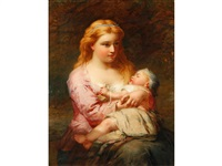 young mother and child by james john hill
