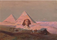 the pyramids at giza by hermann vogel