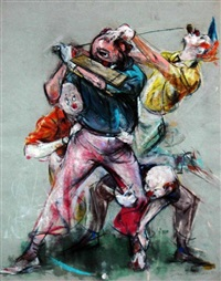 clowns playing golf (3 works) by cydney grossman