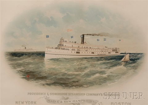 providence amp stonington steampship companys steamers maine amp new hampshirenew yorkboston by jo davidson by lithographers sackett wilhelms