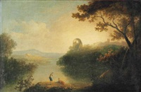 an italianate river landscape with figures conversing on a bank, ruins beyond by richard wilson