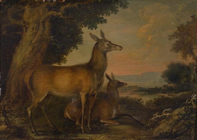 zwei rehe in einer landschaft jagdszene mit hirsch und hunde by carl borromaus andreas ruthart