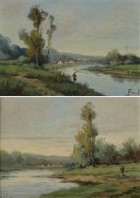 paire de paysages, (2 works) by jean victor bertin