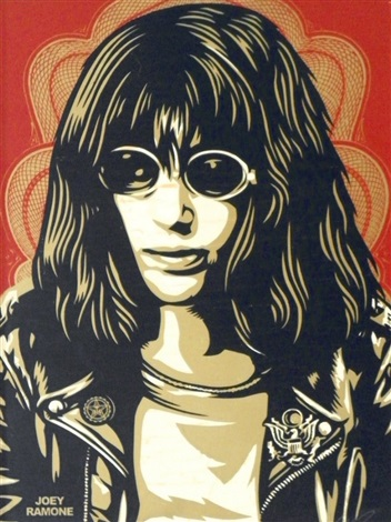 silkscreen on board of joey ramone by shepard fairey