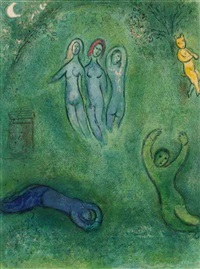 daphnis's dream and the nymphs (from daphnis and chloe) by marc chagall
