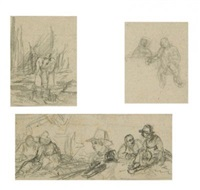 ohne titel (4 sketches, various sizes) by johann fischbach