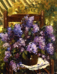 still life with lilacs by yvette boulanger