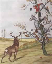 scène de vénerie, le cerf vainqueur by jean herblet