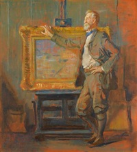 william l. lathrop in his studio at new hope by violet oakley
