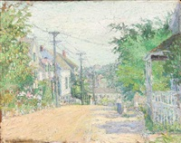 impressionistic summer cityscape - perhaps gloucester by willard leroy metcalf