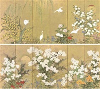 flowers of the four seasons (pair of six-panel screens) by japanese school-rimpa (18)