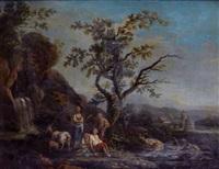 pâtre et sa famille au milieu de ses chèvres près d'une cascade by jean baptiste charles claudot