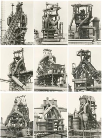 blast furnaces set of 9 by bernd and hilla becher