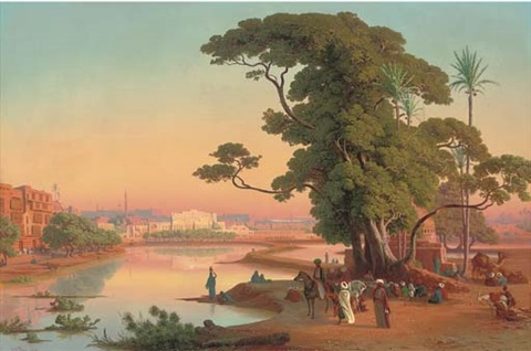 sunset by the water cairo by johann jakob frey