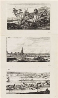 landscapes (set of 6) by anthonye waterloo and johannes ruyscher