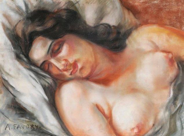buste de femme nue endormie by andré favory