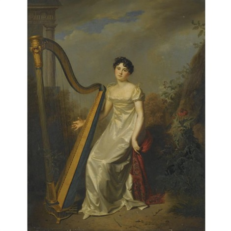 portrait of a lady wearing a white dress and seated beside a harp a landscape beyond marquise de chamillard by firmin massot