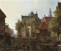 horsemen on a quay in a dutch town in summer by kasparus karsen
