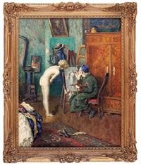 das aktmodell im atelier des malers by heinrich rettig