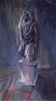 statue at night by michael ayrton