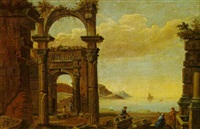mediterranean seascape with figures near ruins by pierre lemaire