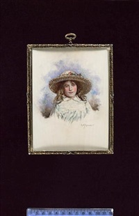 elizabeth bowes-lyon, later queen consort, aged nine, wearing pale green smocked dress and large straw bonnet decorated with flowers by emily gertrude thomson