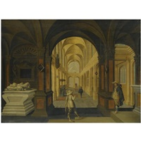 a church interior with cavaliers in the foreground by jan jansz buesem