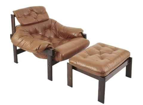 A Brazilian Lounge Chair And Ottoman (set Of 2) By Percival Lafer