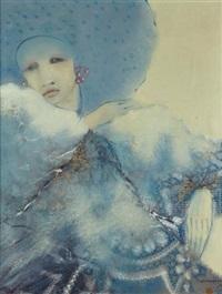 jeune femme en bleu by françois sasmayoux
