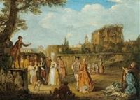 elegante paare lauschen einem redner vor den mauern einer stadt by francois van aken