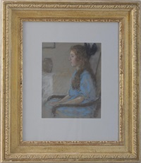 portrait of a seated girl in blue by elmer livingston macrae
