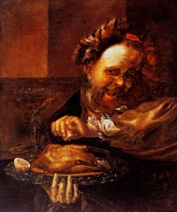 a laughing man squeezing a lemon over a roast chicken by daniel boone
