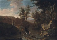 a wooded river landscape with a drover and his cattle by jan booth