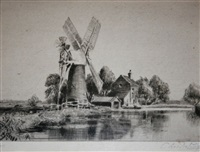 mill and house on the broads by charles mayes wigg