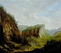 figures in an alpine landscape by ferdinand wilhem von couven