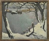 winter landscape by jozef van hooste