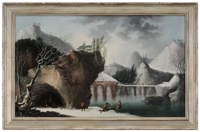 frozen landscape, with figures by a fire in a cave by francesco foschi