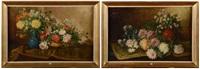 natures mortes aux fleurs (pair) by jules félix ragot