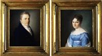 biedermeier-portrait (+ another, similar; 2 works) by johann lorenz kreul